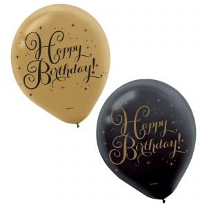 Happy Birthday Black&Gold Latex - 15Pk