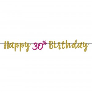Pink And Gold Milestone 30 Glitter Letter Banner