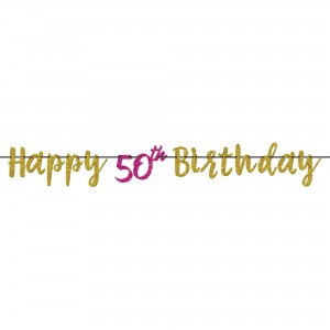 Pink And Gold Milestone 50 Glitter Letter Banner