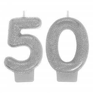 Sparkling 50th Silver Candles