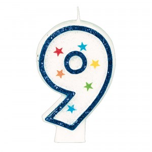 #9 Birthday Star Flat Molded Candle/Disc