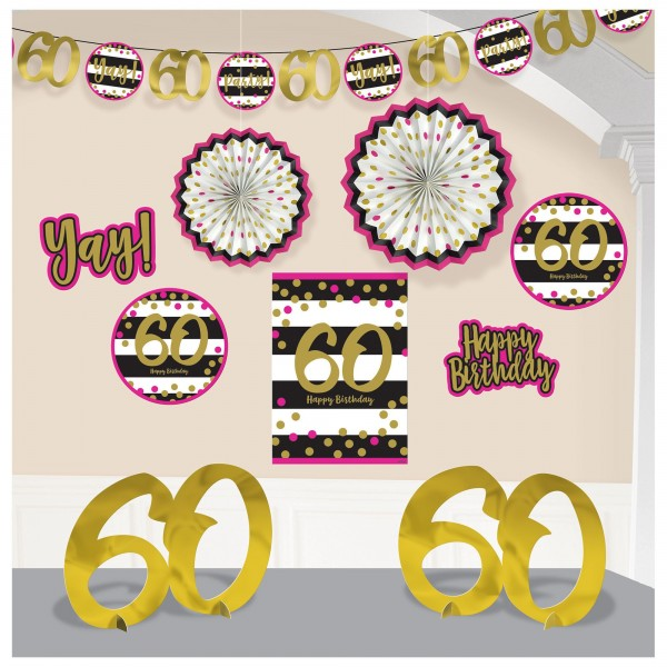 Pink And Gold Milestone 60 Room Decorating Kit