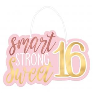 Blush Sweet 16 Hanging Sign