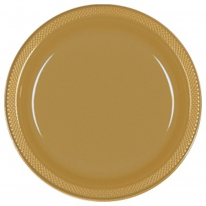 10In Plastic Plates - Gold