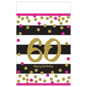 Pink And Gold Milestone 60 Plastic Table Cover
