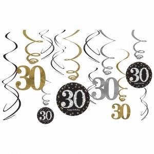 Sparkling 30th Swirl Decorations