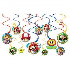 Super Mario Brothers Value Pack Foil Swirl Decorations
