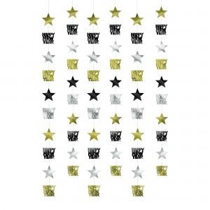 Star String Decorating - Blk/Silver/Gld