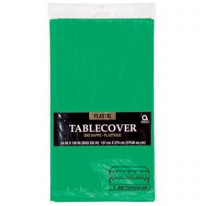 Plastic Rectangle Tablecover - Festive Green