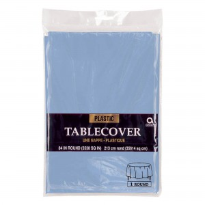 Plastic Round Tablecover - Caribbean Blue