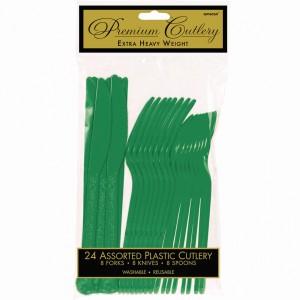 Premium Asst Cutlery - Festive Green