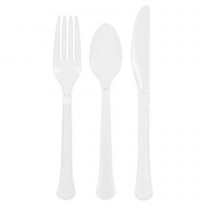 Heavy Weight Ass Cutlery 24Ct - Frosty White